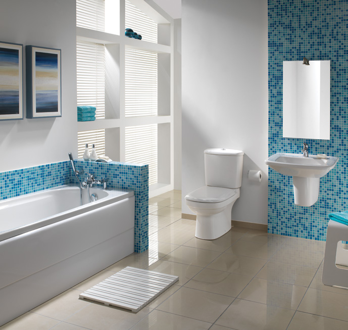 White Bathroom with Blue Mosaic Tiles
