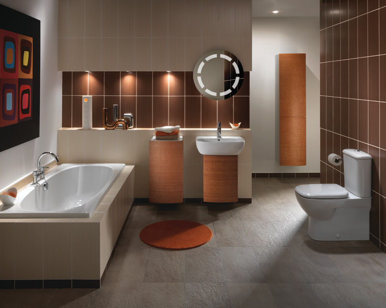 Cappuccino Coloured Bathroom with White Suite
