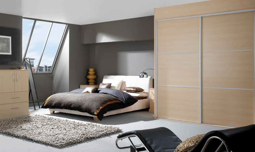 Modern Mushroom Bedroom with Fitted Furniture