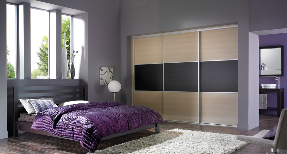 Modern Purple Bedroom with Fitted Furniture