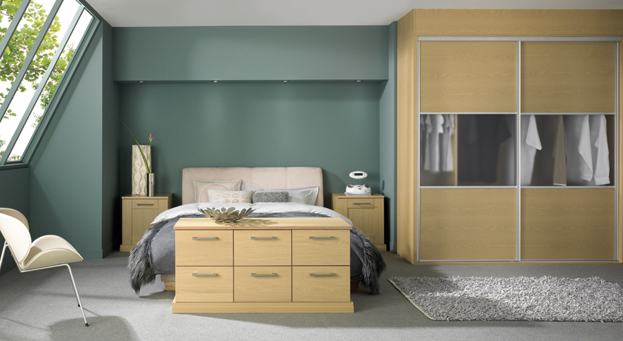 Modern Green Bedroom with Fitted Furniture